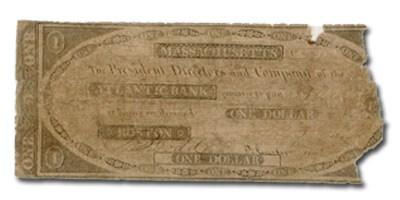 1842 Atlantic Bank, Boston, MA $1 MA-100, VG Details