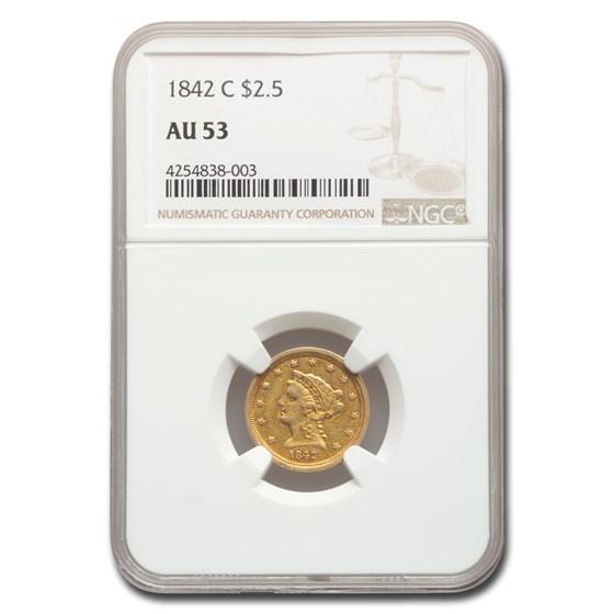 1842-C $2.50 Liberty Gold Quarter Eagle AU-53 NGC
