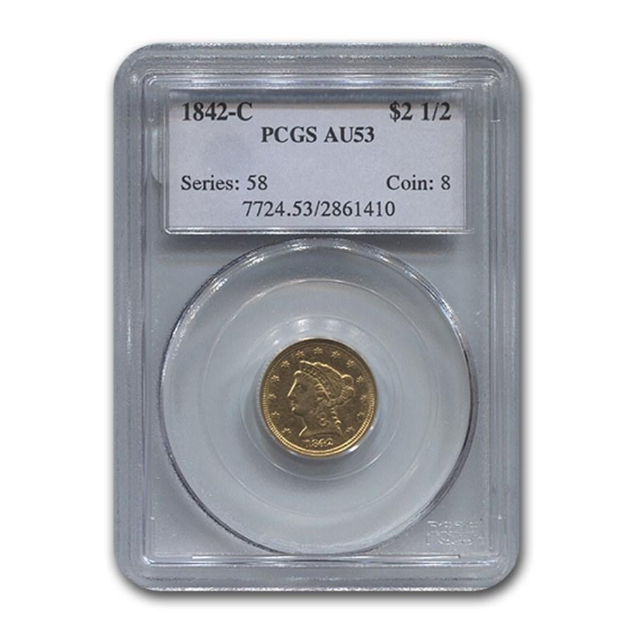 1842-C $2.50 Liberty Gold Quarter Eagle AU-53 PCGS