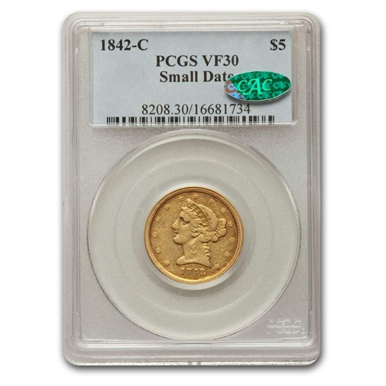 1842-C $5 Liberty Gold Half Eagle VF-30 PCGS CAC (Small Date)
