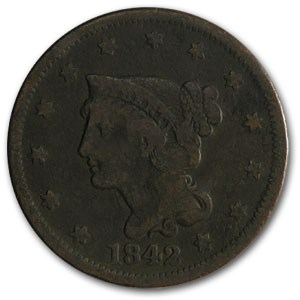 1842 Large Cent Lg Date VG