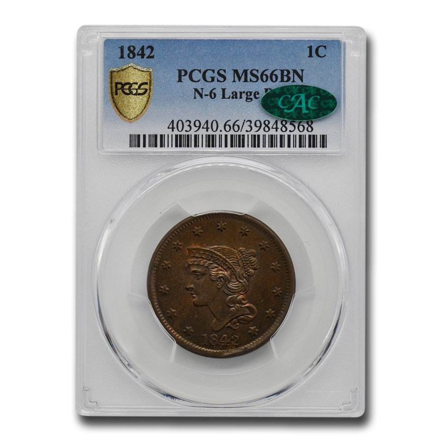 1842 Large Cent MS-66 PCGS CAC (Brown, N-6 Large Date)