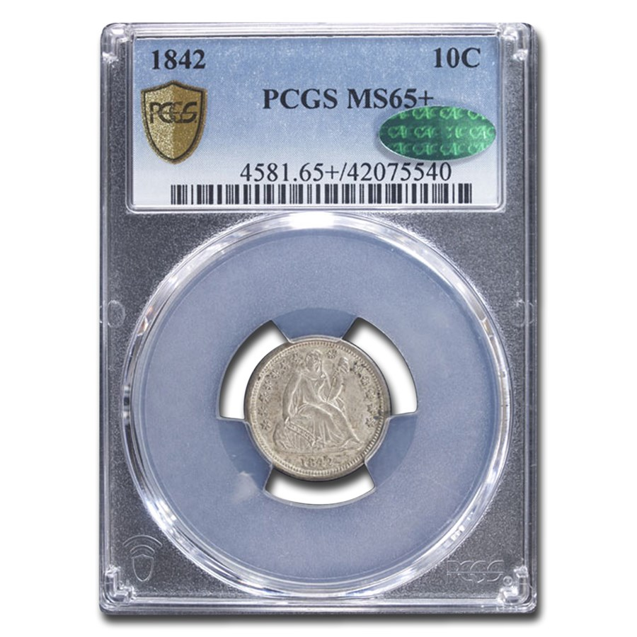 1842 Liberty Seated Dime MS-65+ PCGS CAC