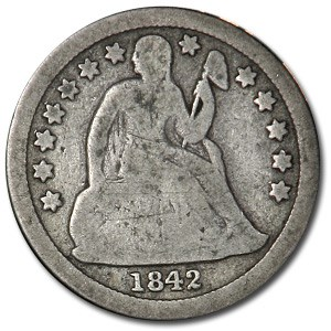 1842 Liberty Seated Dime VG