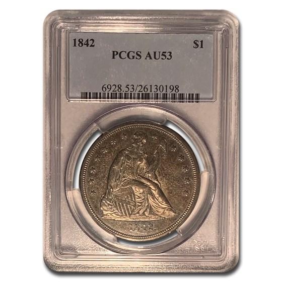 1842 Liberty Seated Dollar AU-53 PCGS