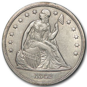 1842 Liberty Seated Dollar AU Details (Cleaned)