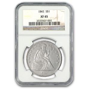 1842 Liberty Seated Dollar XF-45 NGC