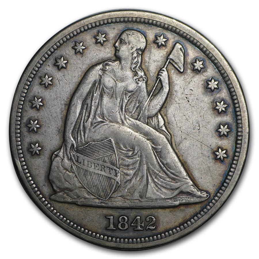 1842 Liberty Seated Dollar XF