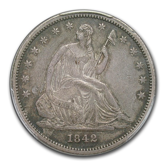 1842 Liberty Seated Half Dollar XF-45 PCGS (Sm Date, Rev of 1842)
