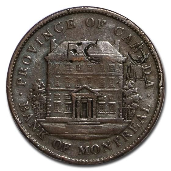 1842 Lower Canada Penny Bank Token VF Details (Obv graffiti)