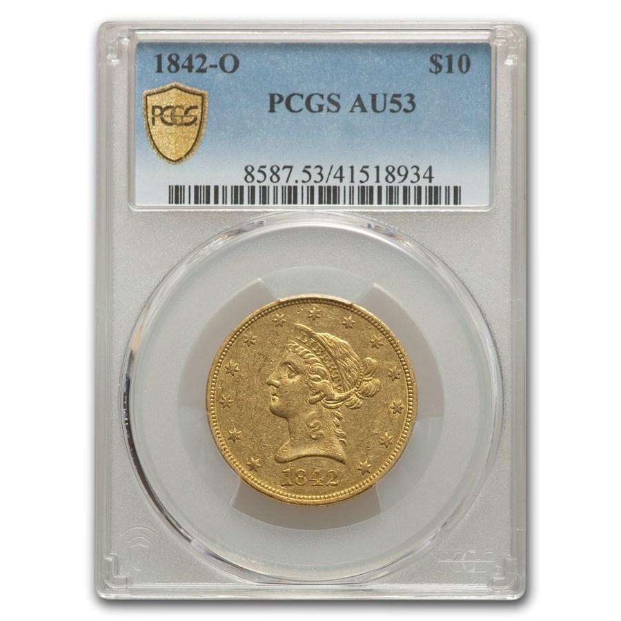 1842-O $10 Liberty Gold Eagle AU-53 PCGS