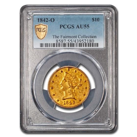 1842-O $10 Liberty Gold Eagle AU-55 PCGS