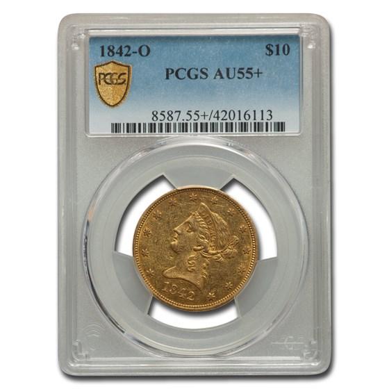 1842-O $10 Liberty Gold Eagle AU-55+ PCGS