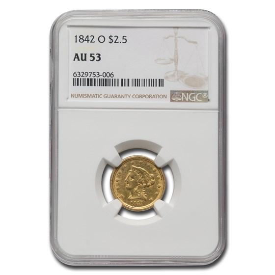 1842-O $2.50 Liberty Gold Quarter Eagle AU-53 NGC