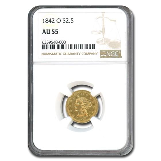 1842-O $2.50 Liberty Gold Quarter Eagle AU-55 NGC