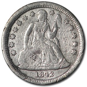 1842-O Liberty Seated Dime VF-30 Details (Cleaned)
