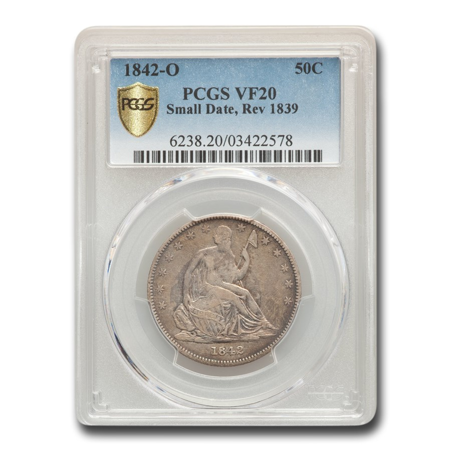 1842-O Liberty Seated Half Dollar VF-20 PCGS (Sm Date, Rev 1839)