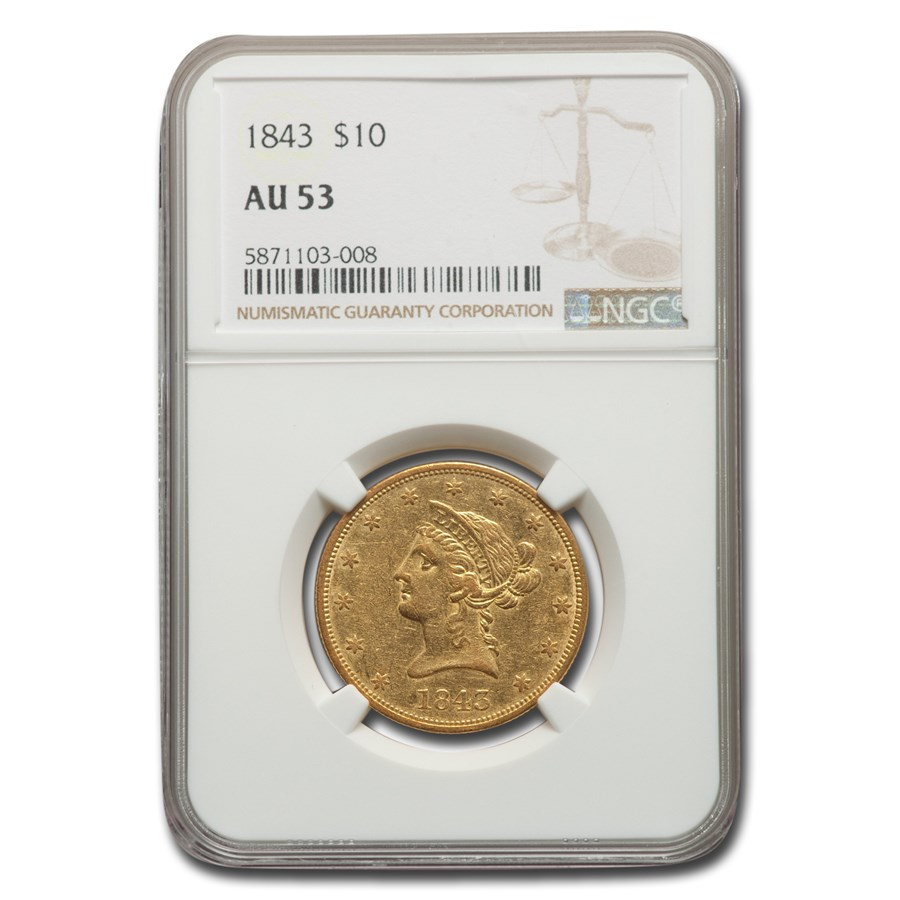 1843 $10 Liberty Gold Eagle AU-53 NGC