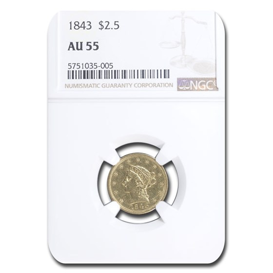 1843 $2.50 Liberty Gold Quarter Eagle AU-55 NGC