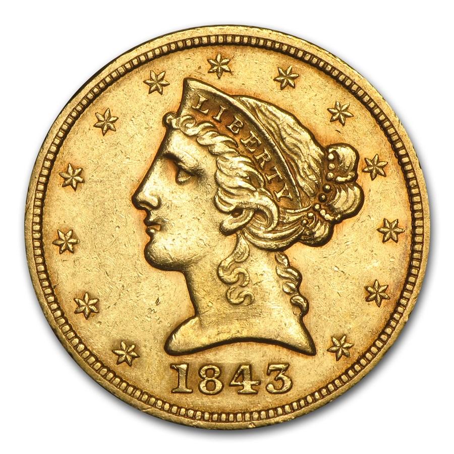 1843 $5 Liberty Gold Half Eagle AU