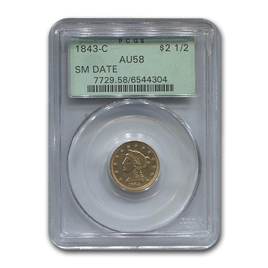 1843-C $2.50 Liberty Gold Quarter Eagle AU-58 PCGS (Small Date)