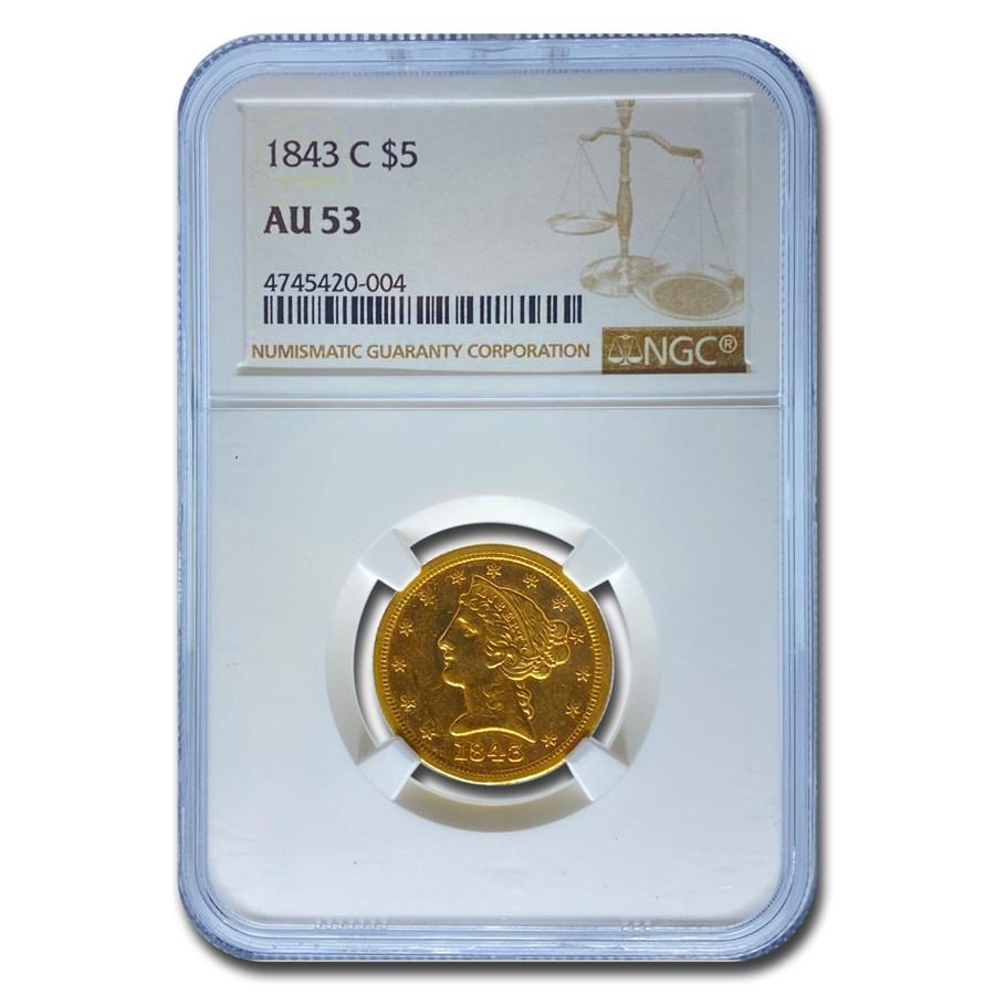 1843-C $5 Liberty Gold Half Eagle AU-53 NGC