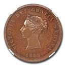 1843 Canada (New Brunswick) Bronzed Copper Penny PR-64(Brown) NGC