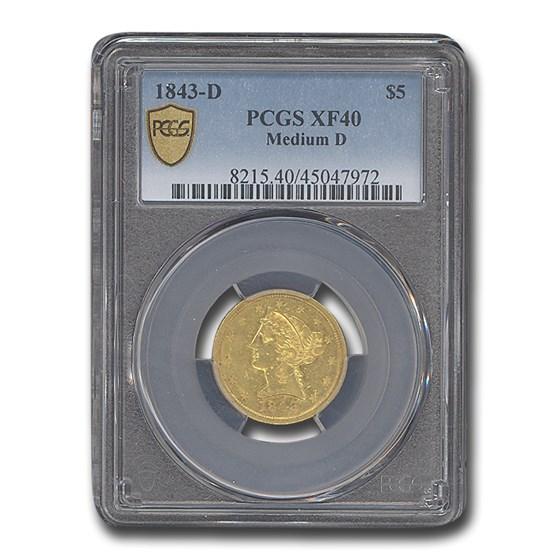 1843-D $5 Liberty Gold Half Eagle XF-40 PCGS (Medium Date)
