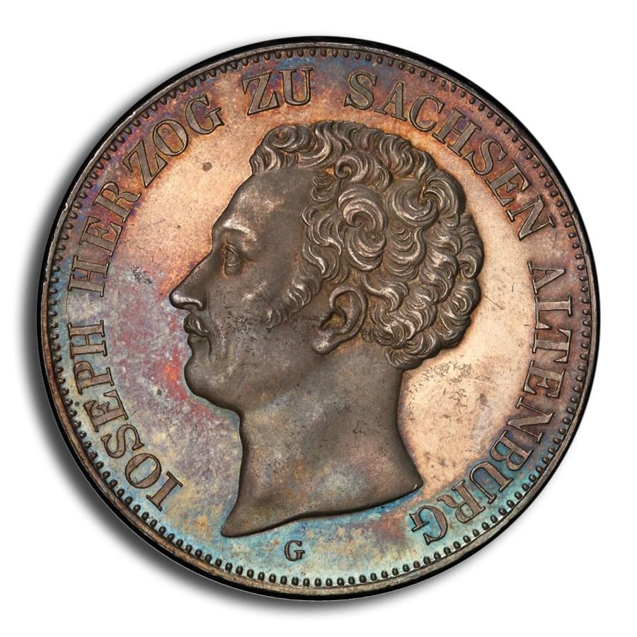 1843 German State Saxe-Altenburg Silver 2 Thaler MS-64 PCGS