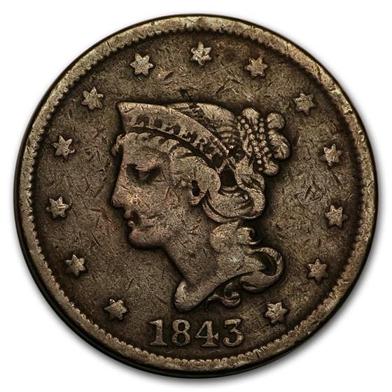 1843 Large Cent Petite Head, Sm Letters Fine