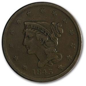 1843 Large Cent Petite Head, Sm Letters VF