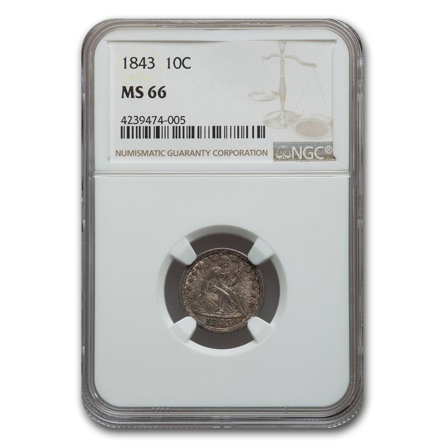 1843 Liberty Seated Dime MS-66 NGC
