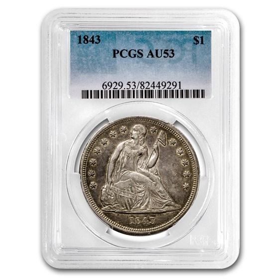 1843 Liberty Seated Dollar AU-53 PCGS