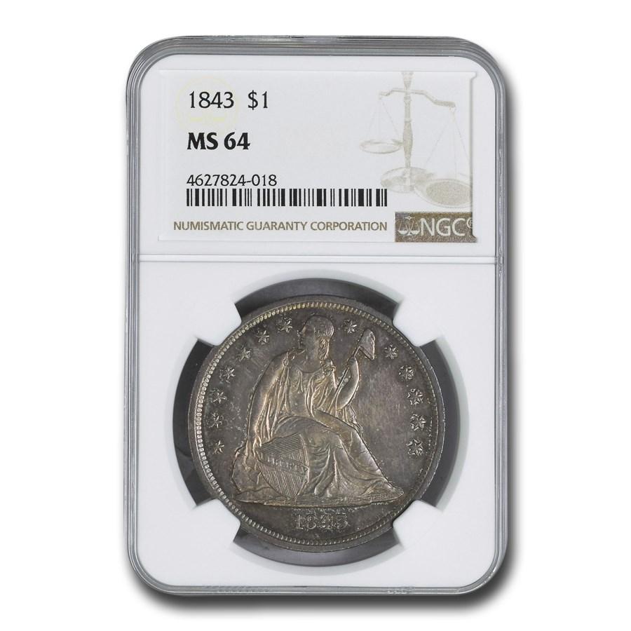 1843 Liberty Seated Dollar MS-64 NGC