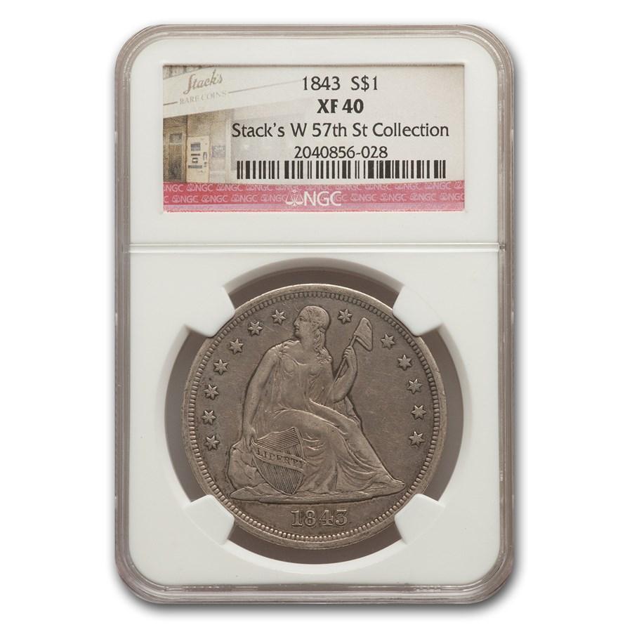 1843 Liberty Seated Dollar XF-40 NGC