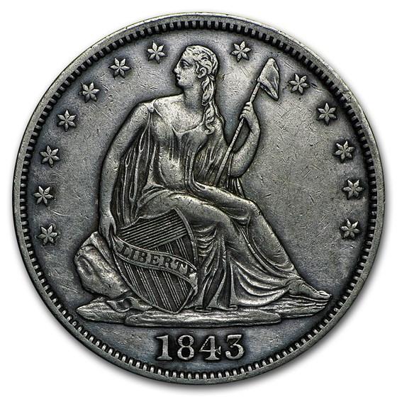 1843 Liberty Seated Half Dollar VF