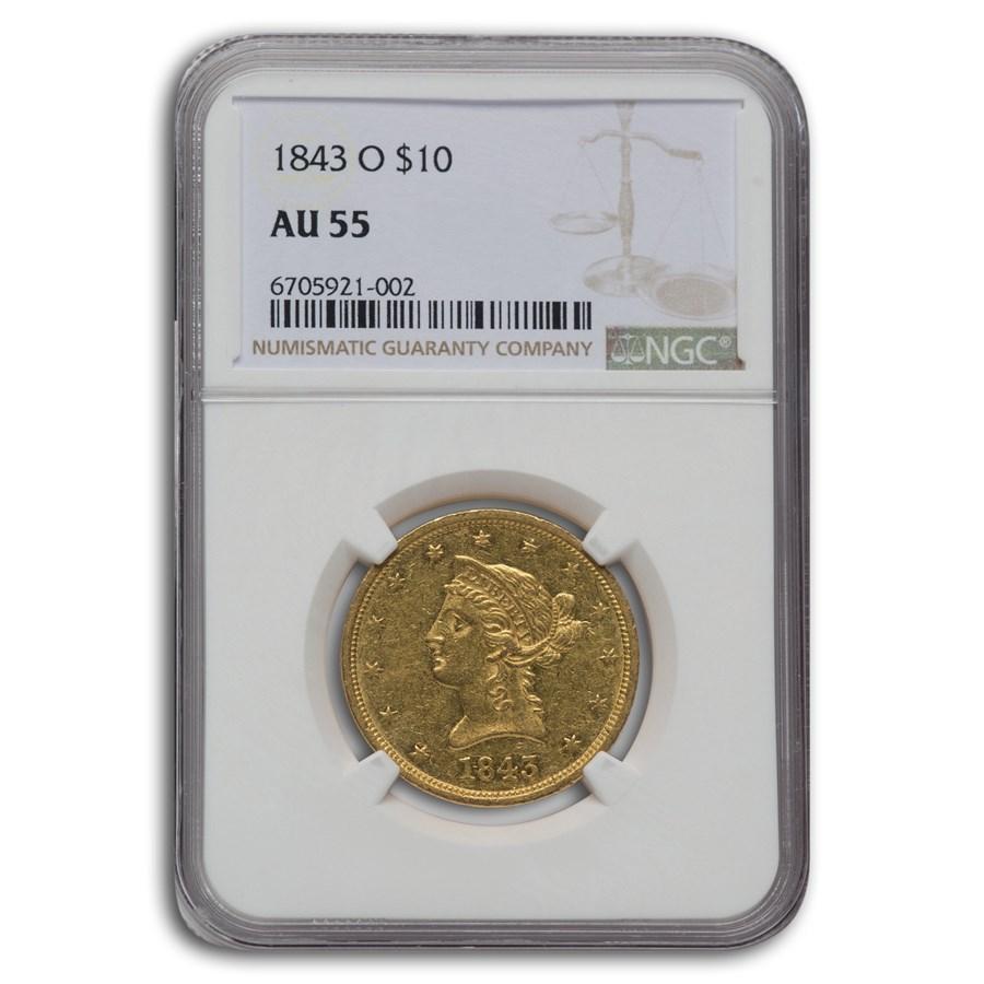 1843-O $10 Liberty Gold Eagle AU-55 NGC