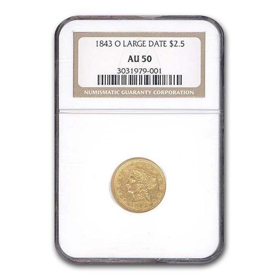 1843-O $2.50 Liberty Gold Quarter Eagle AU-50 NGC (Large Date)