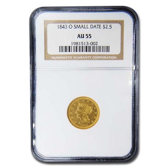 1843-O $2.50 Liberty Gold Quarter Eagle AU-55 NGC (Small Date)
