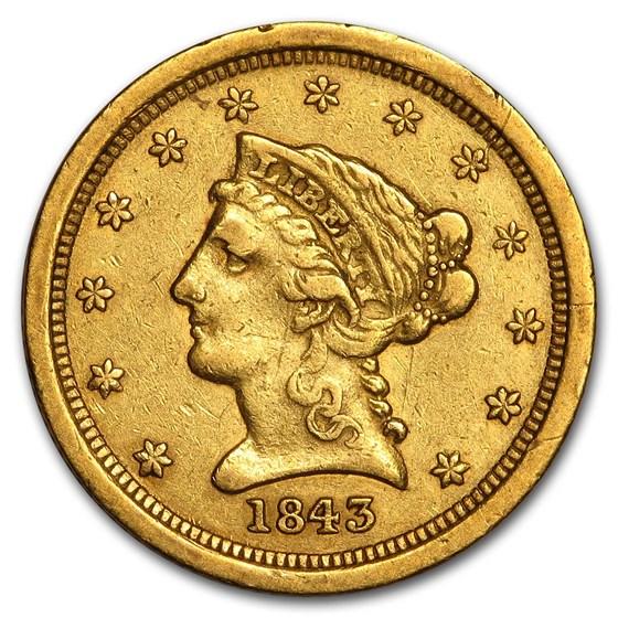 1843-O $2.50 Liberty Gold Quarter Eagle Small Date XF