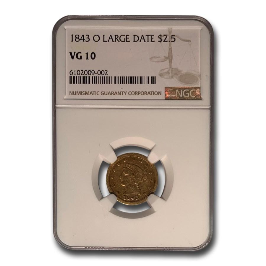 1843-O $2.50 Liberty Gold Quarter Eagle VG-10 NGC (Large Date)