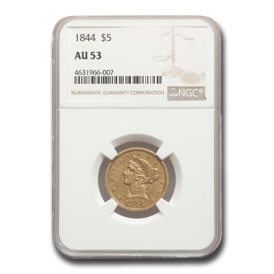1844 $5 Liberty Gold Half Eagle AU-53 NGC
