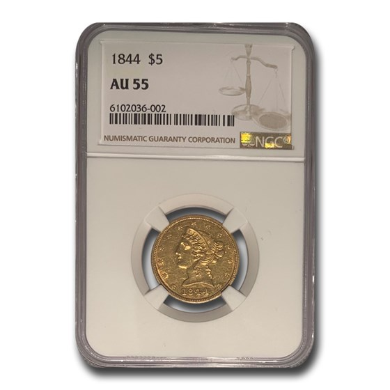 1844 $5 Liberty Gold Half Eagle AU-55 NGC