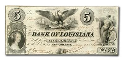 1844 Bank of Louisiana @ New Orleans $5.00 LA-75 Ch AU
