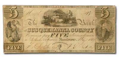 1844 Bank of Susquehanna County, PA, $5 PA-325 VF