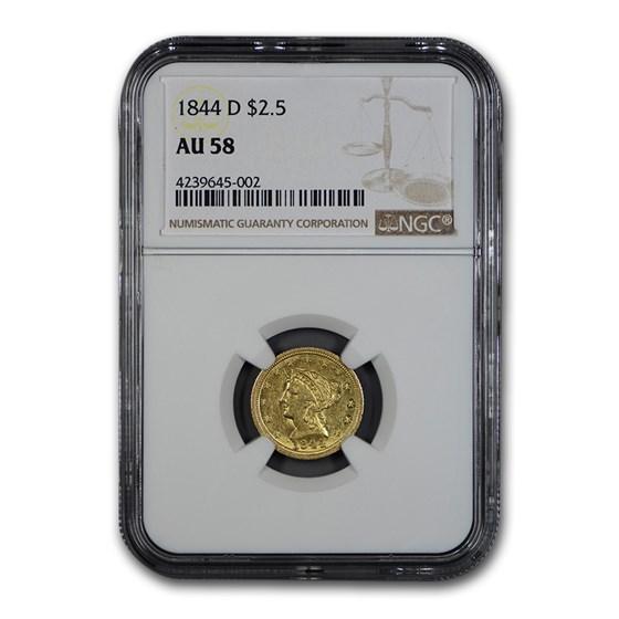 1844-D $2.50 Liberty Gold Quarter Eagle AU-58 NGC