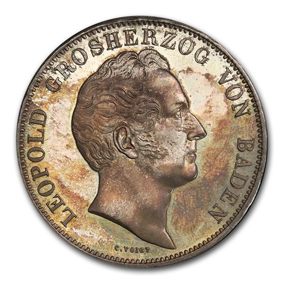 1844 German State Baden Silver 2 Thaler Leopold I PR-64+ PCGS