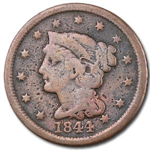 1844 Large Cent VG