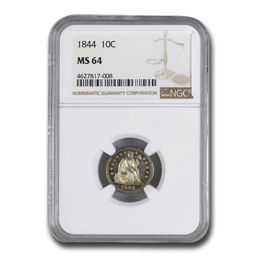 1844 Liberty Seated Dime MS-64 NGC