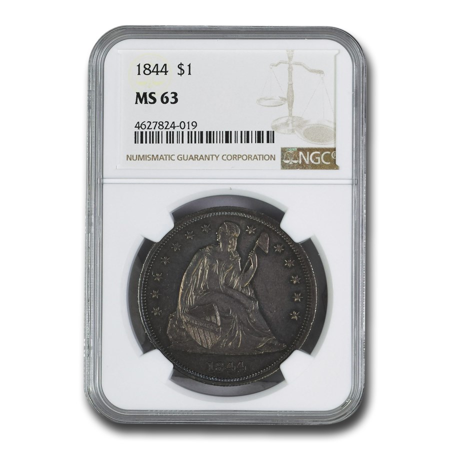 1844 Liberty Seated Dollar MS-63 NGC